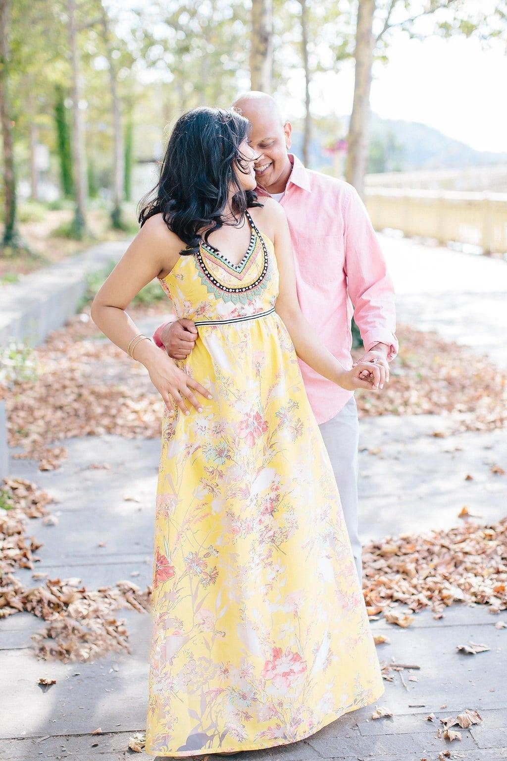 Couples dancing in leaves