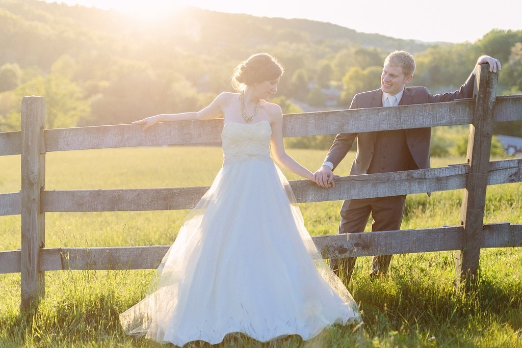 bride and groom during sunset portraits