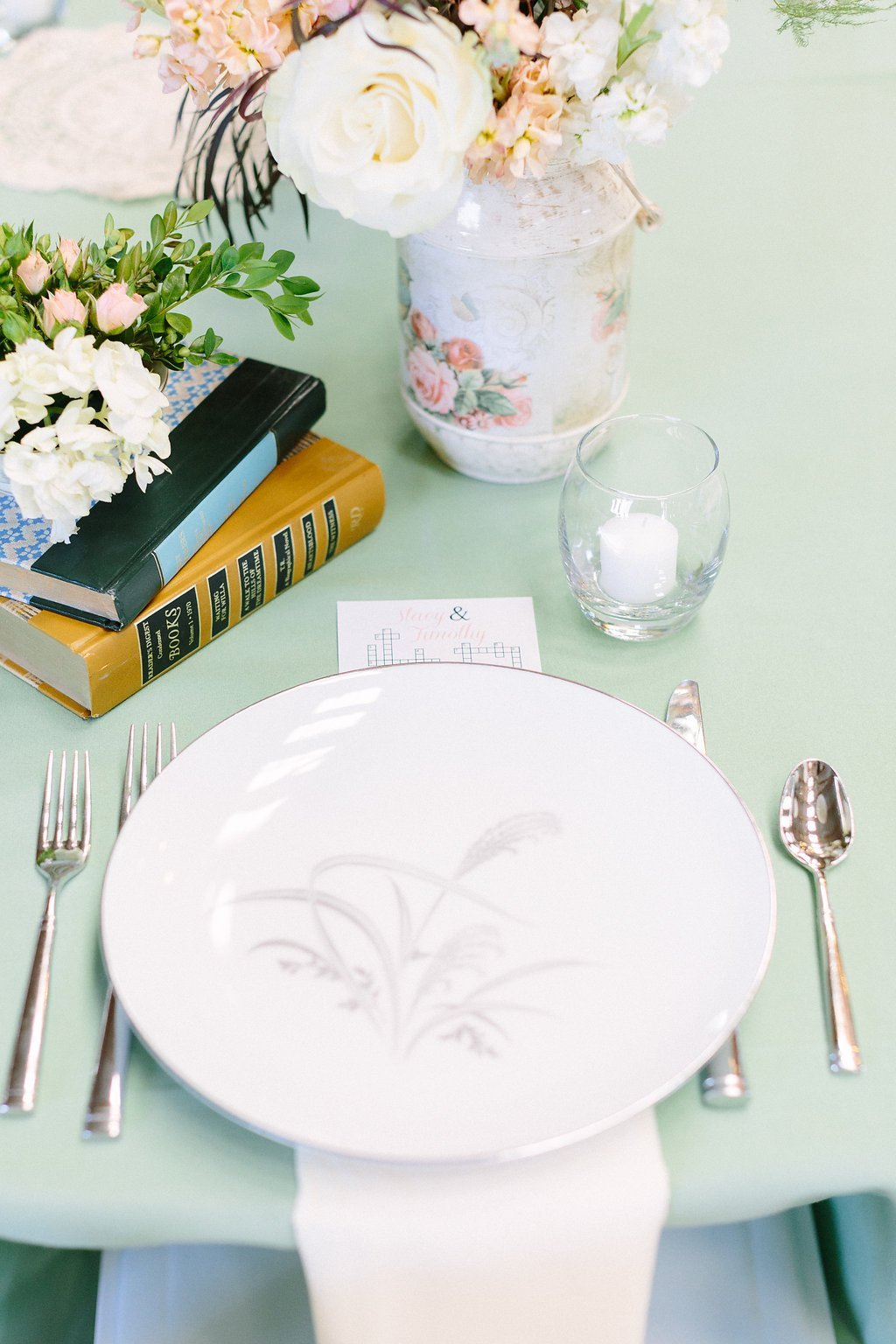 vintage table settings at farm wedding