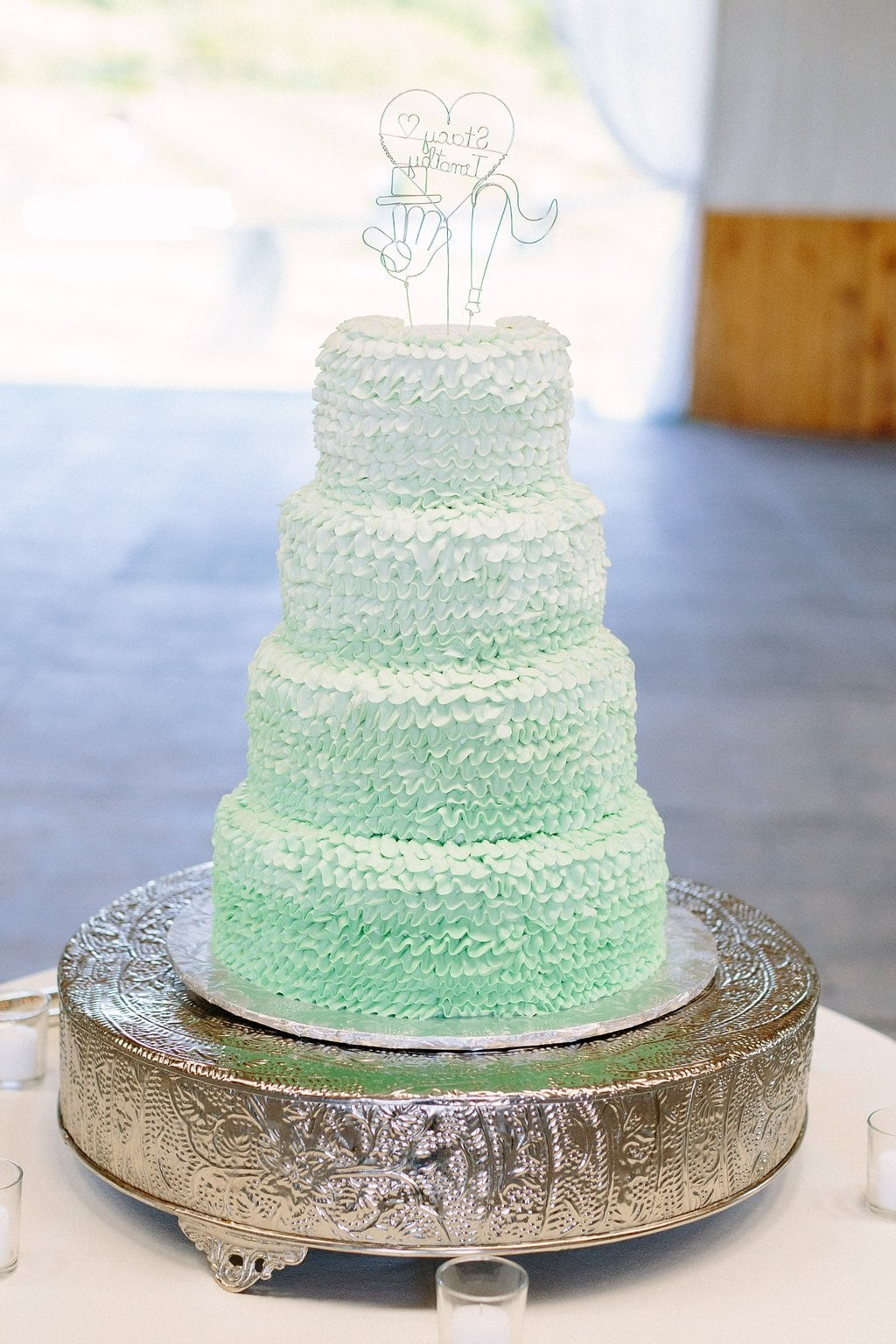 lime green and white ruffled wedding cake