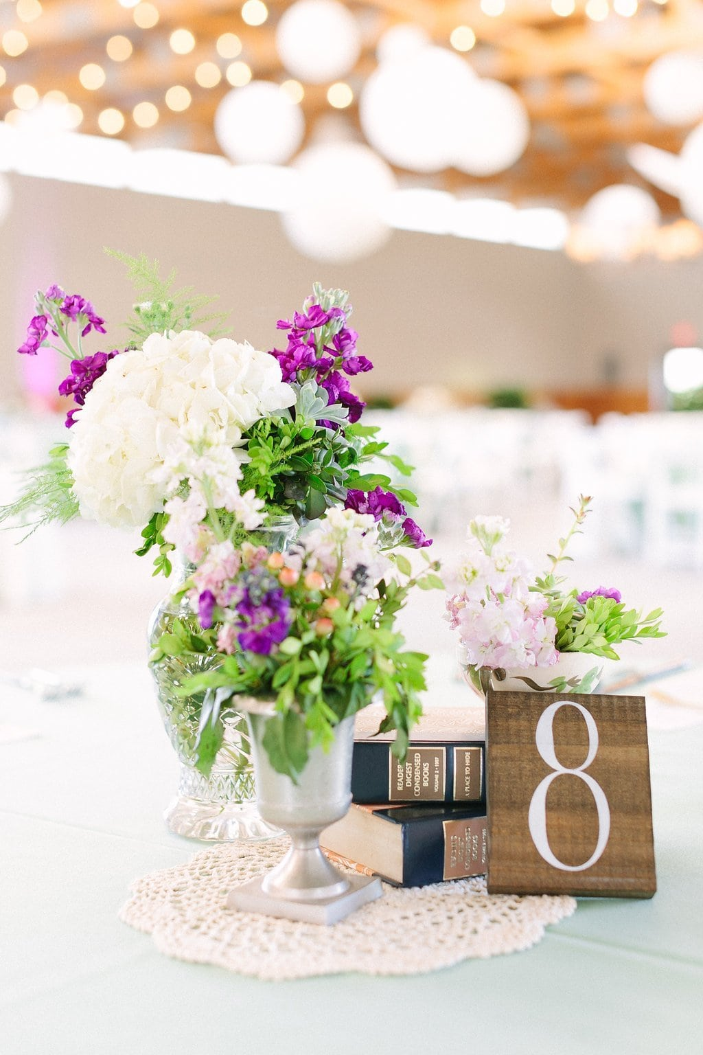 vintage books and decor at wedding