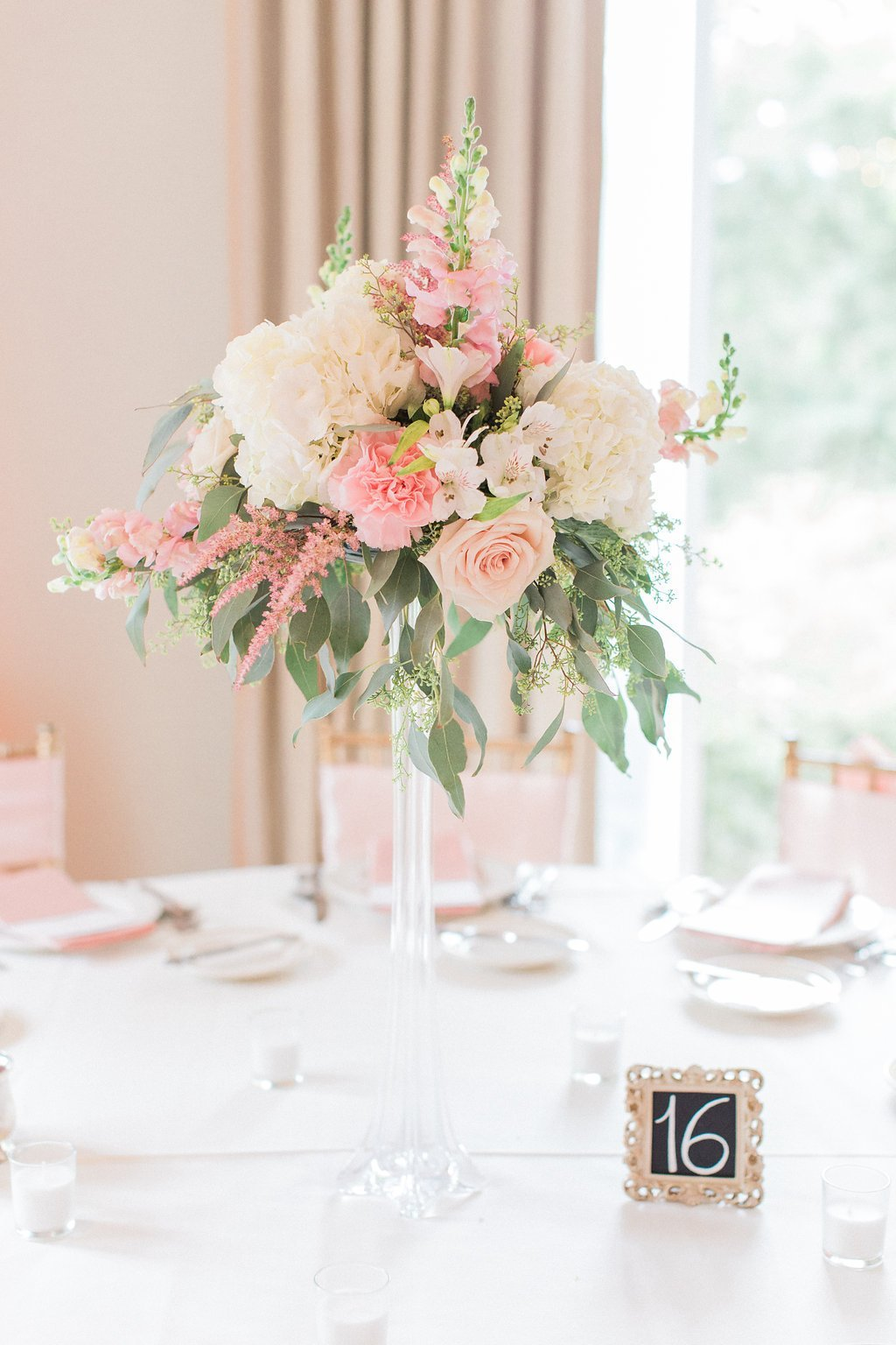 Pink floral tall center pieces