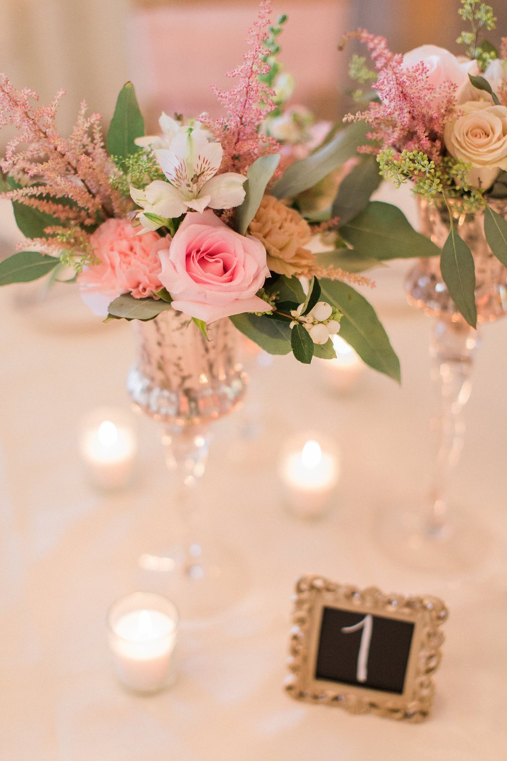 close up of flowers and table decor at wedding reception