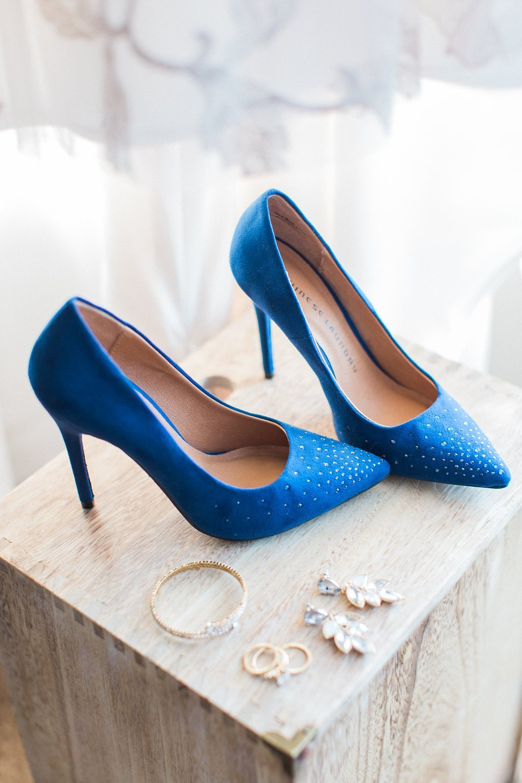 Brides navy blue shoes