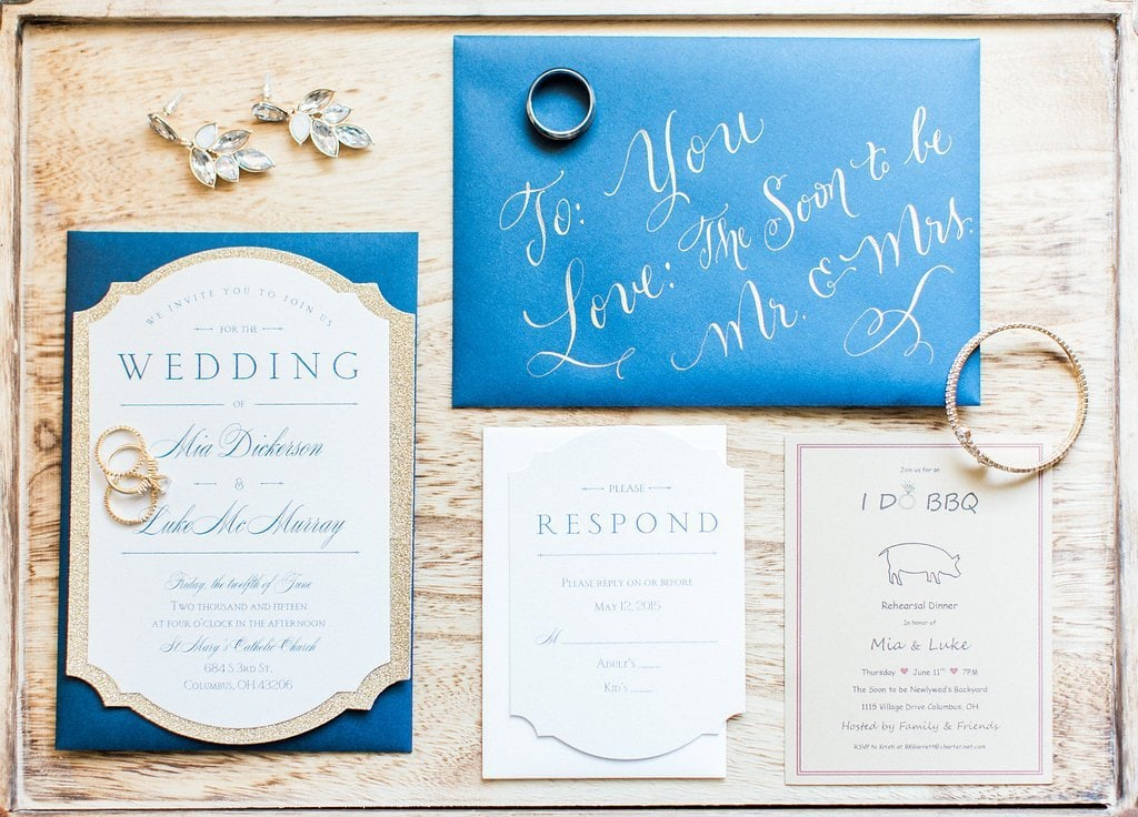 Invitation design with blue envelope