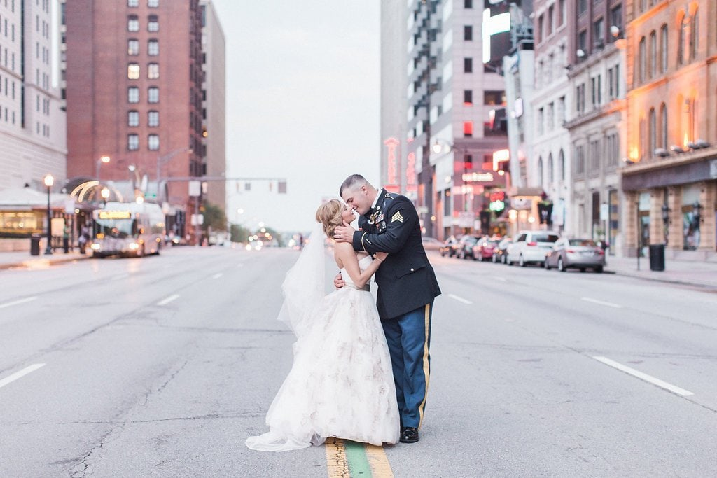 Bride and groom portraits in the streets of ohio