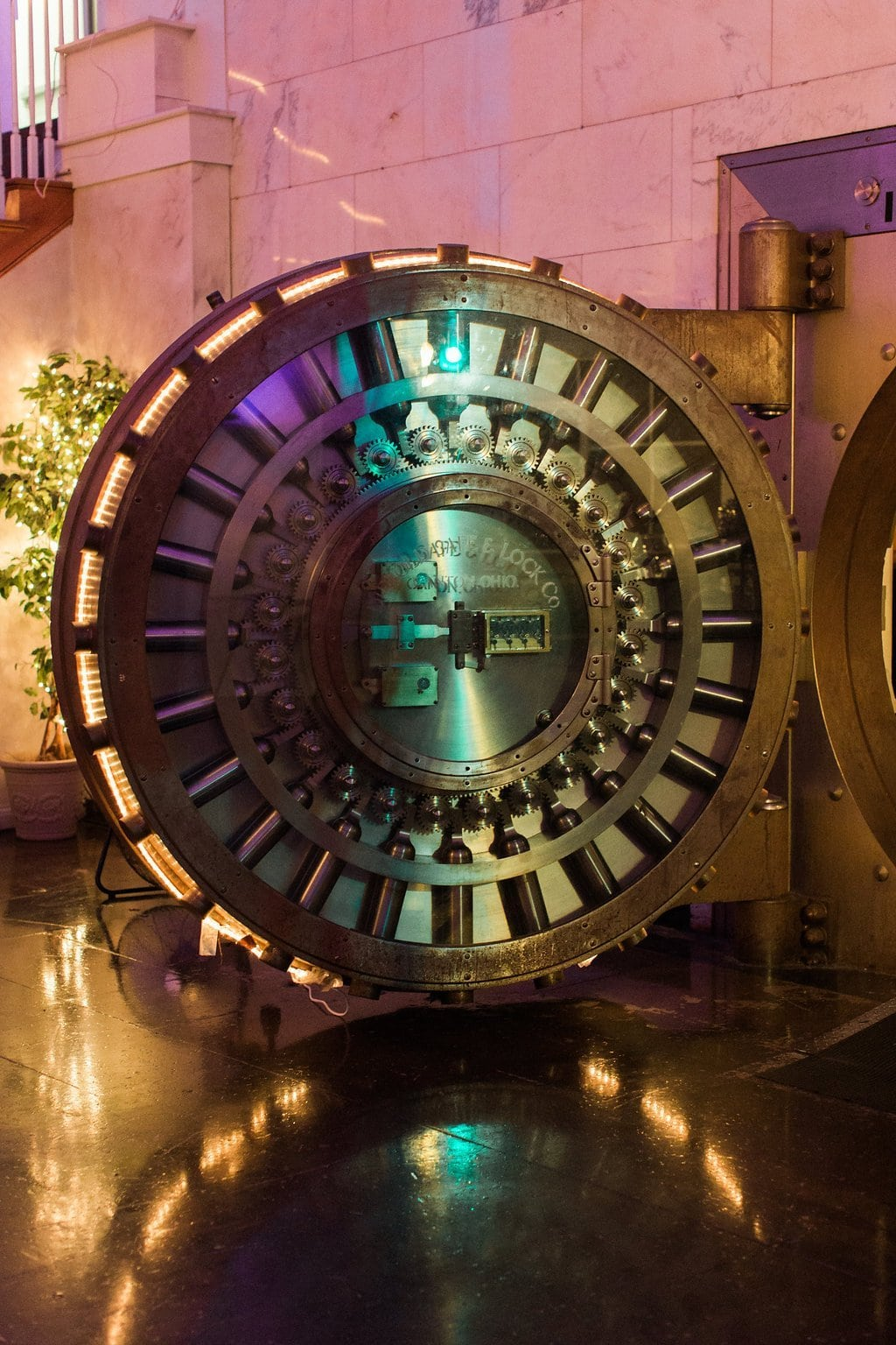 Vault door to the bar area at wedding reception