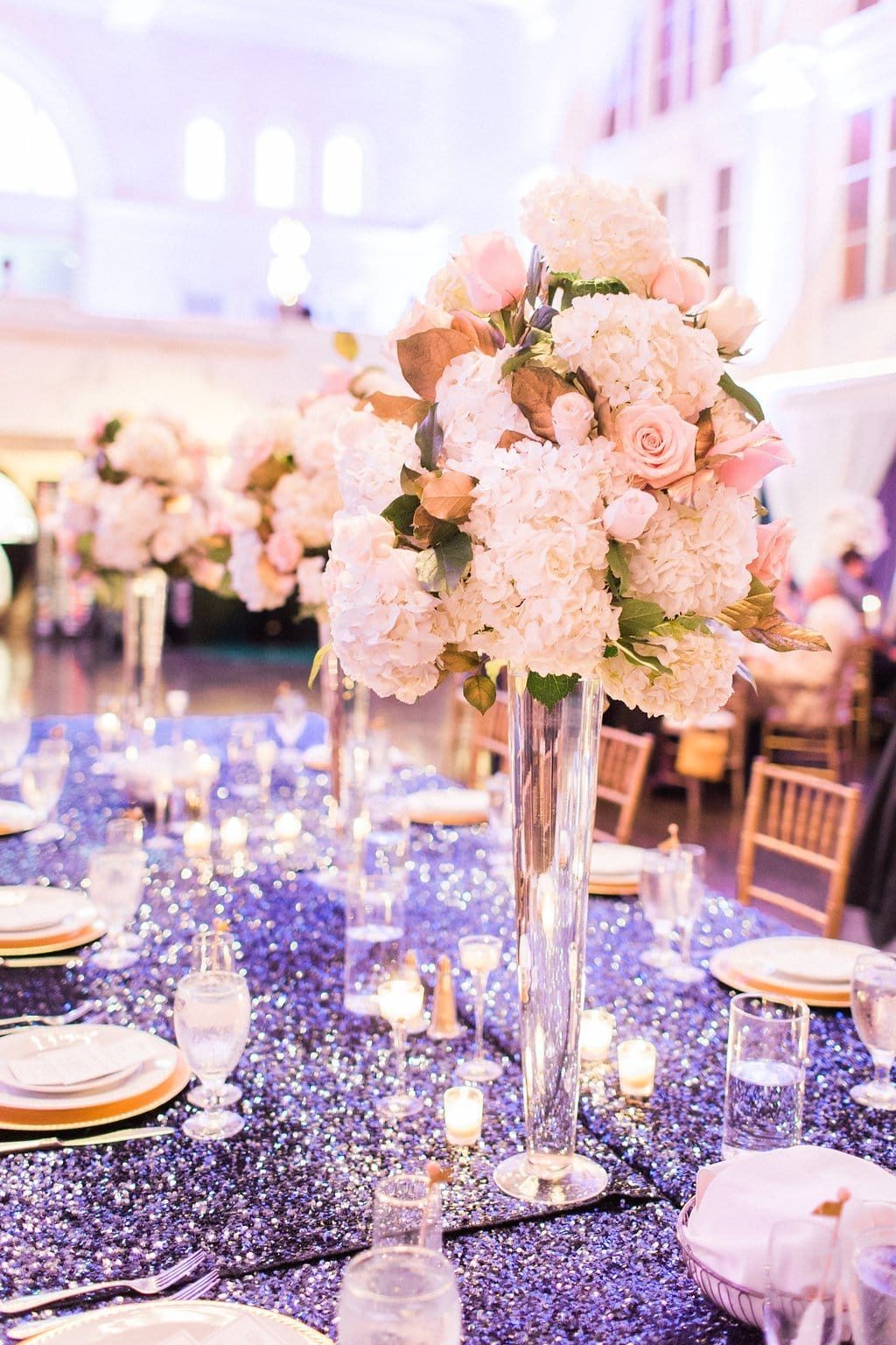 Table decor with tall center floral center pieces