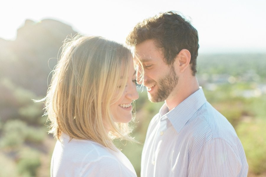 Couple laughing and smiling during portrait session