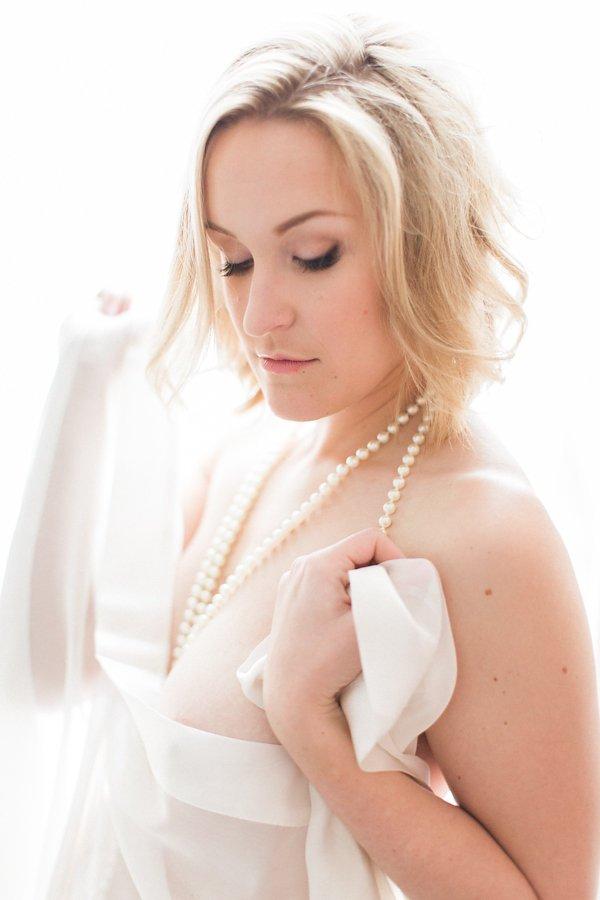 Portrait of a woman during her boudoir photos