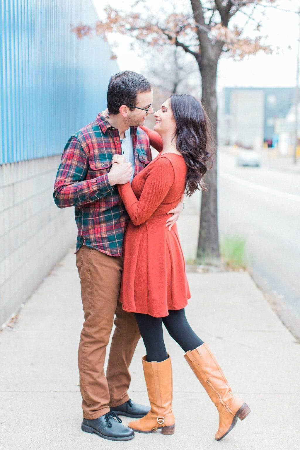 Couple dancing together in the streets of Pittsburgh