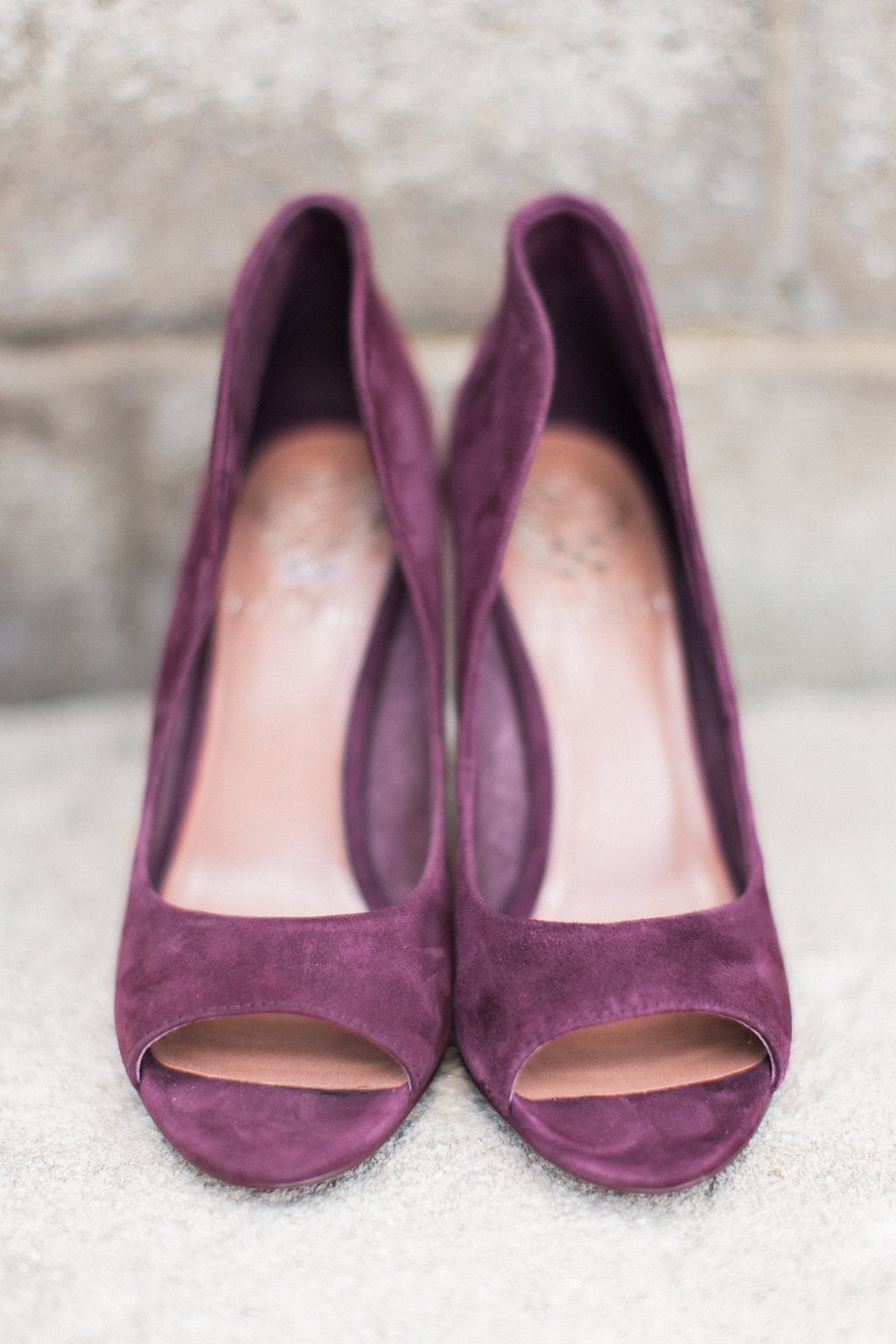 Purple velvet high heel wedding shoes