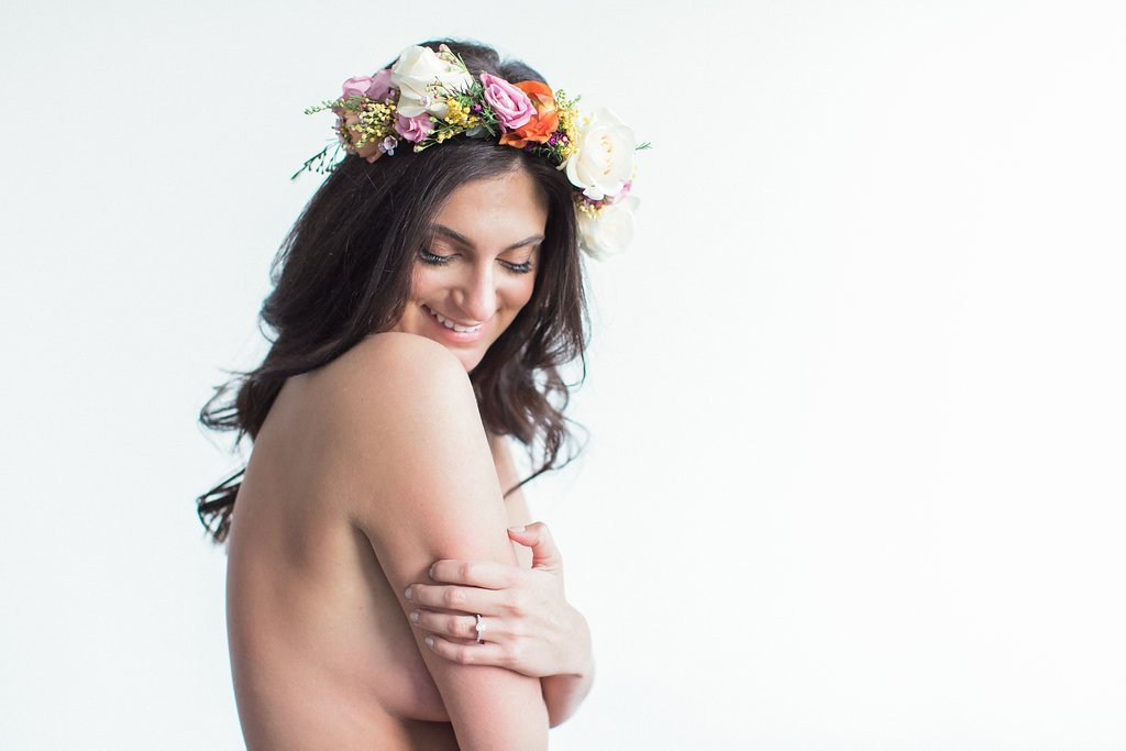 Naked girl with flower crown
