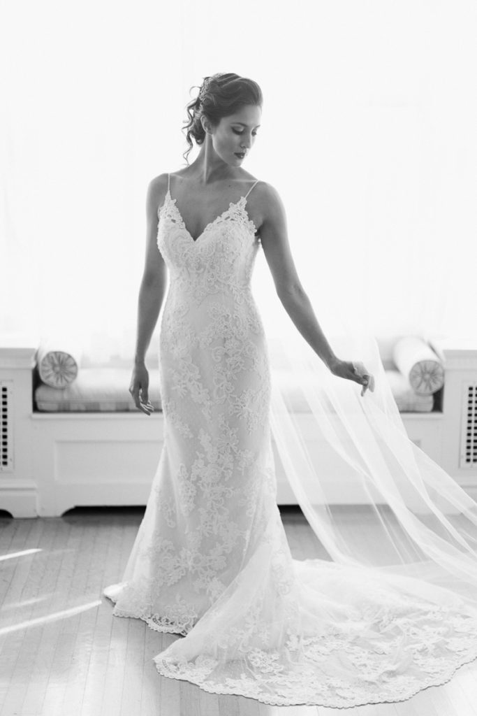 Linden Hall Wedding bride wearing lace dress and veil