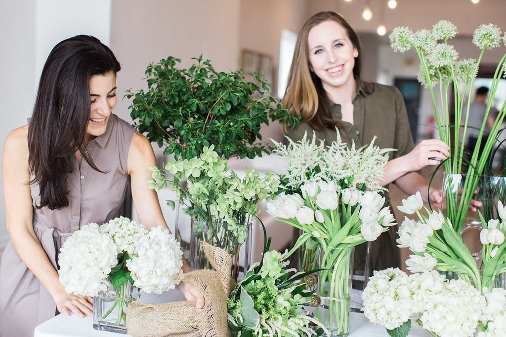 The event group team putting together bouquets Style Me Pretty Editorial