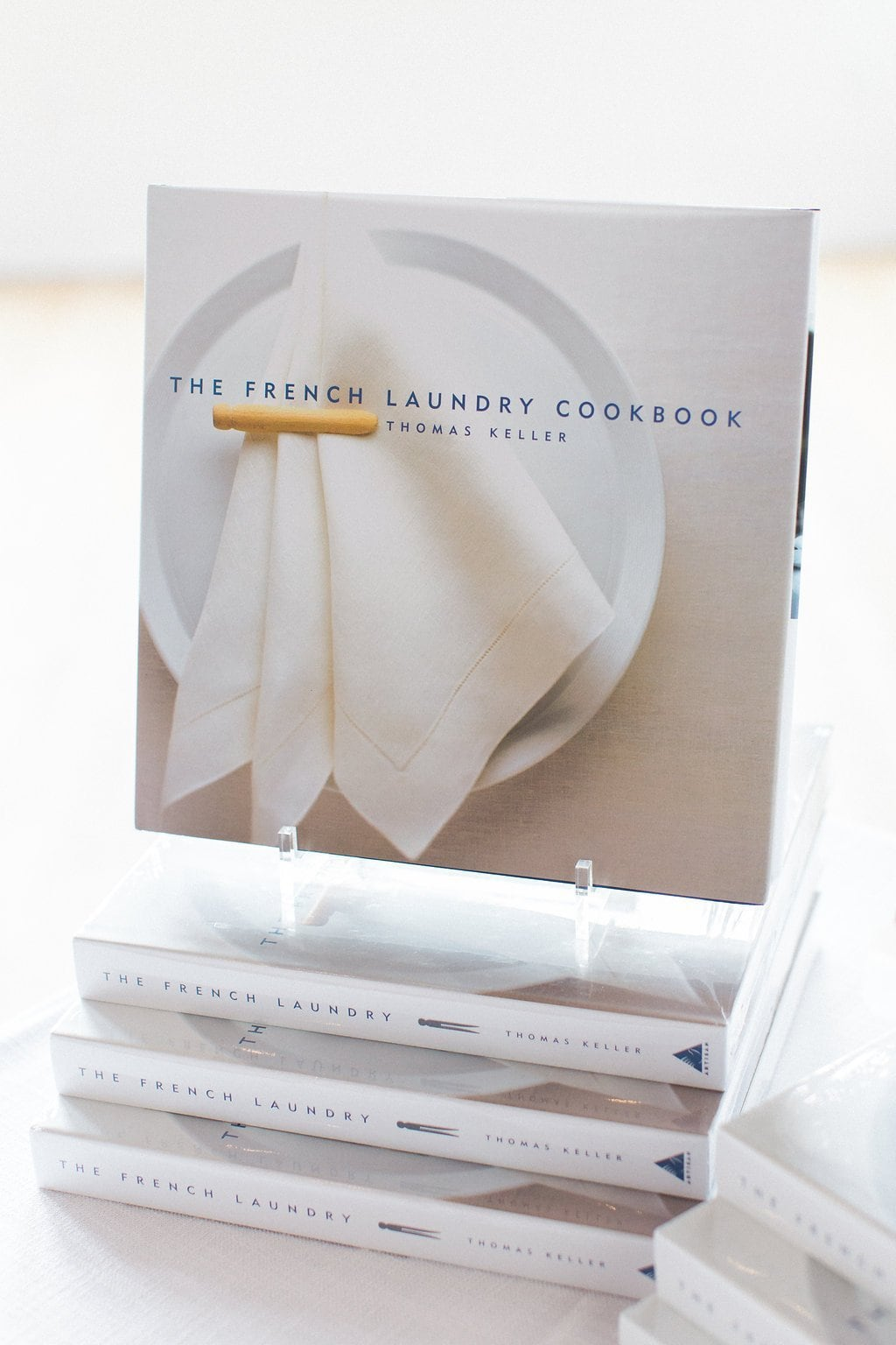 The French Laundry cookbook on a stand