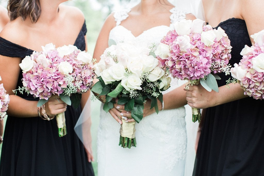 Close up of bride and bridesmaids pink bouquets
