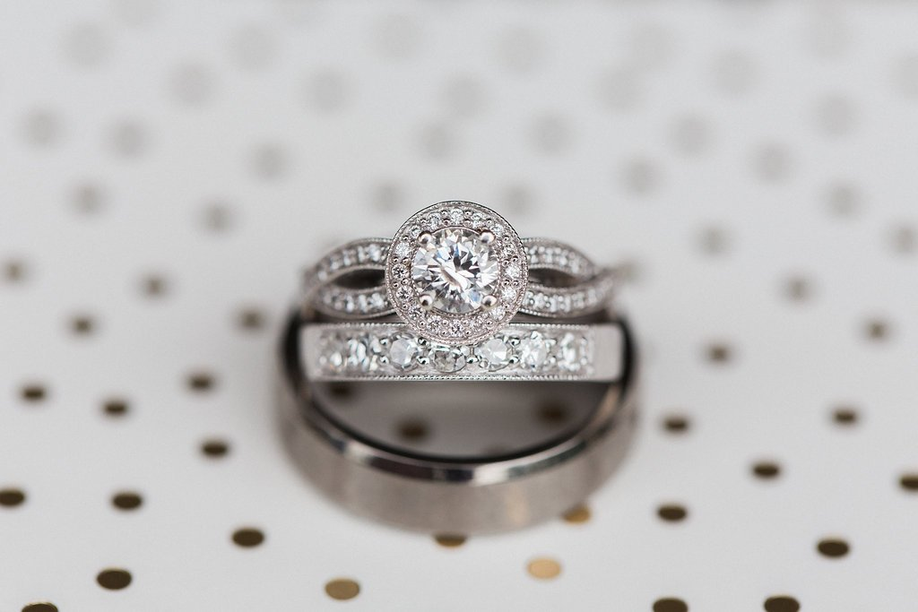 Close up of bride's engagement ring
