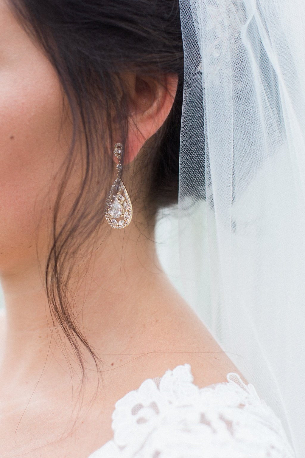 Close up of bride's earring