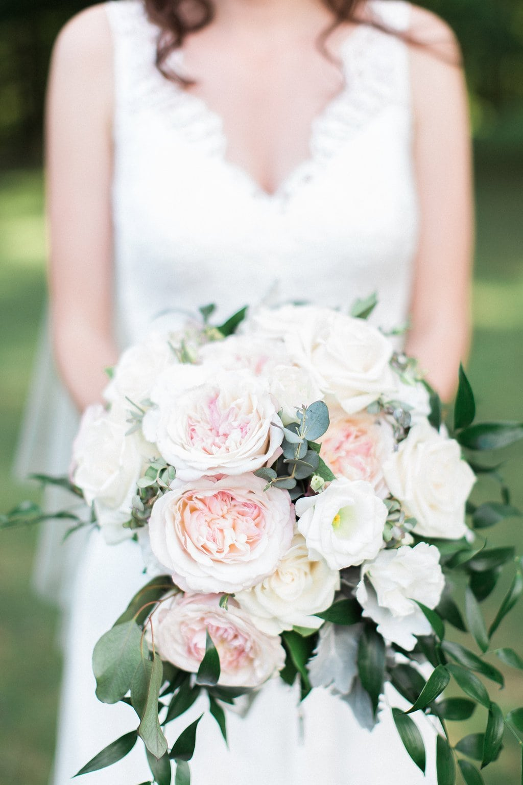 Close up of bride's pink and white bouquet