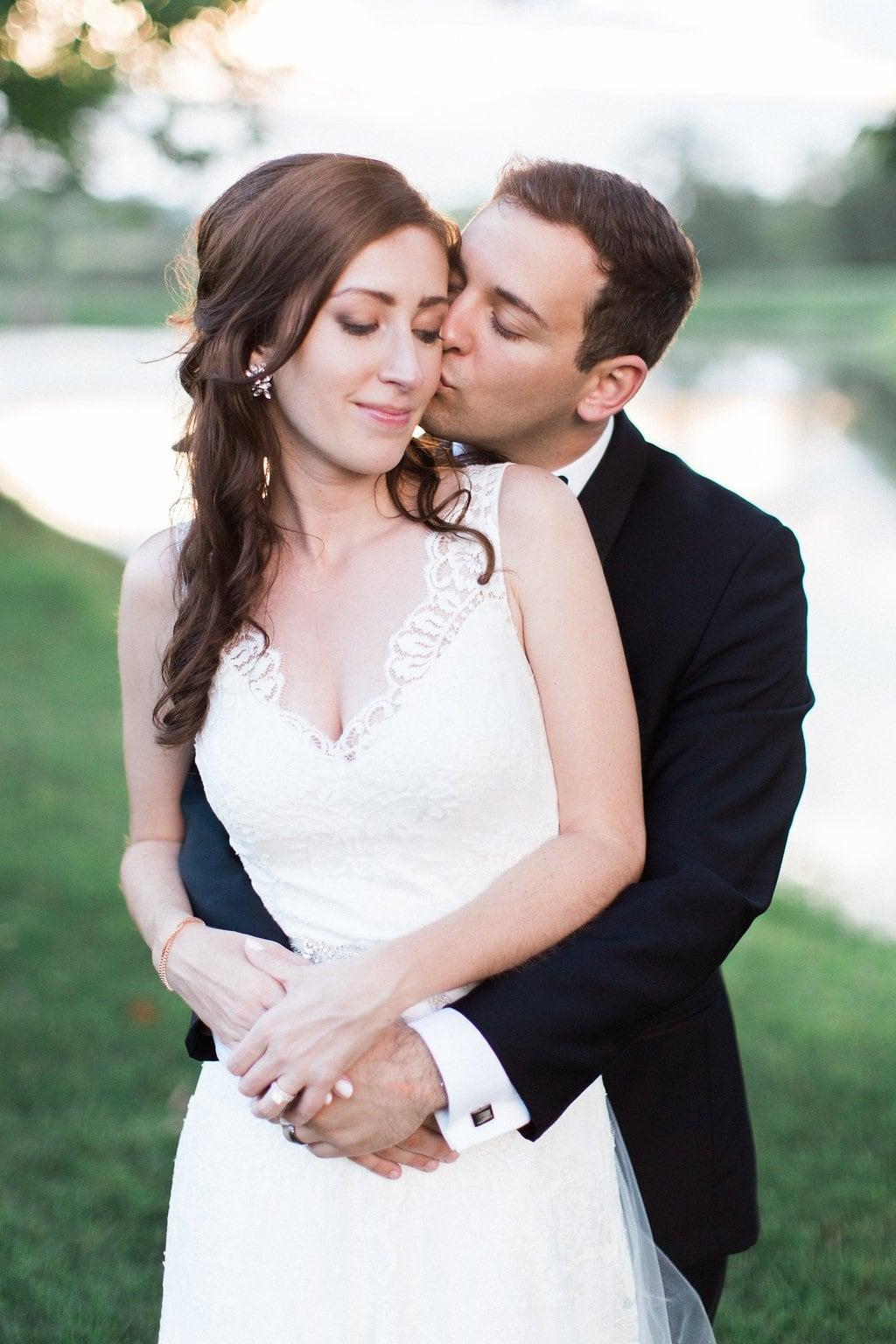 Bride and groom portraits at sunset Lenape Heights Golf Resort Wedding