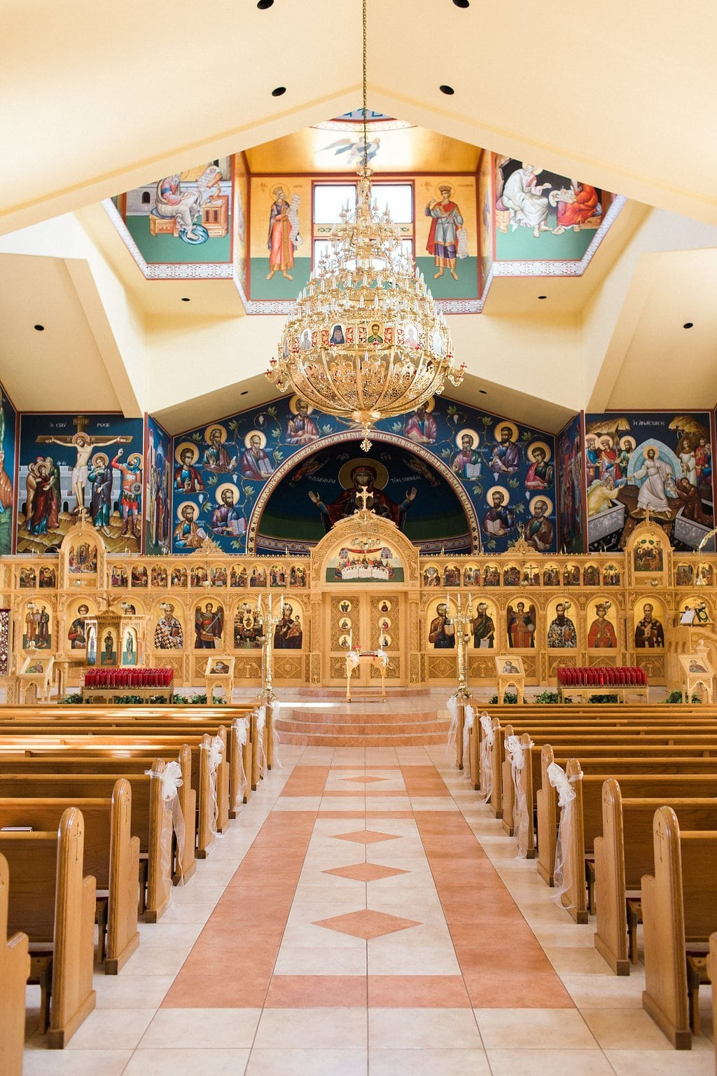 Inside All Saints Greek Orthodox Church painted walls and ceiling