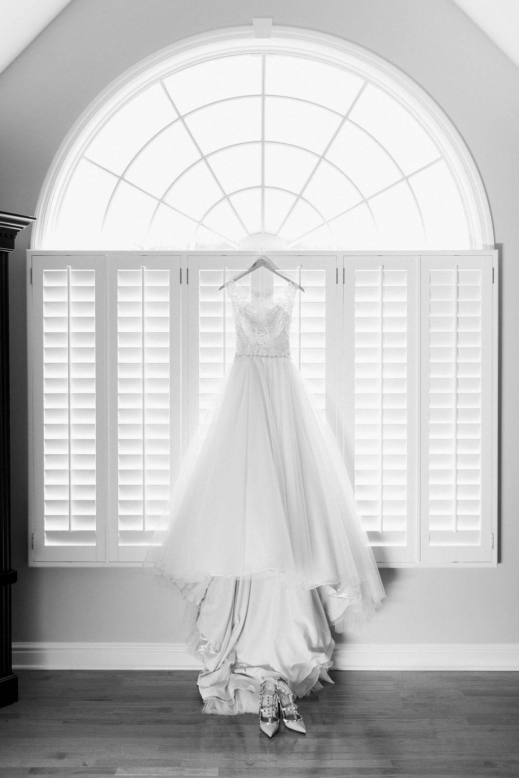 Maggie Sottero Designs Wedding Dress Black and White Photograph