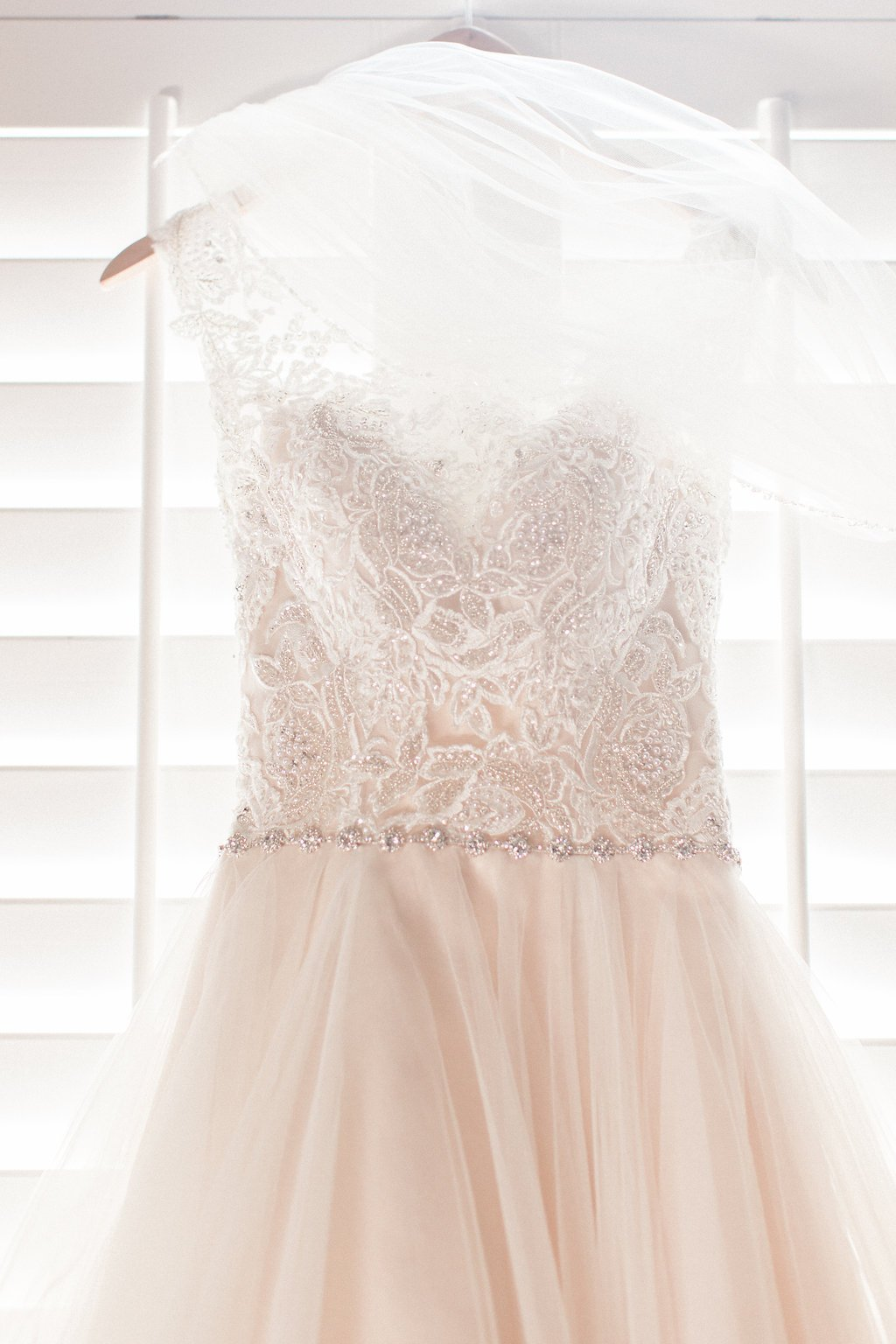 Maggie Sottero Designs Wedding Dress details with beading lace and tulle