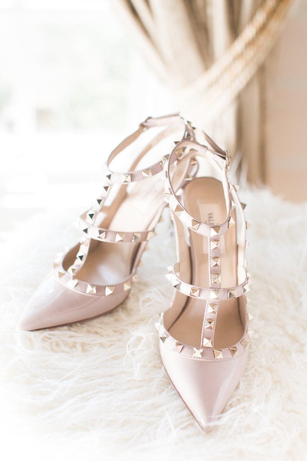 Valentino Rockstud high heel wedding shoes in beige