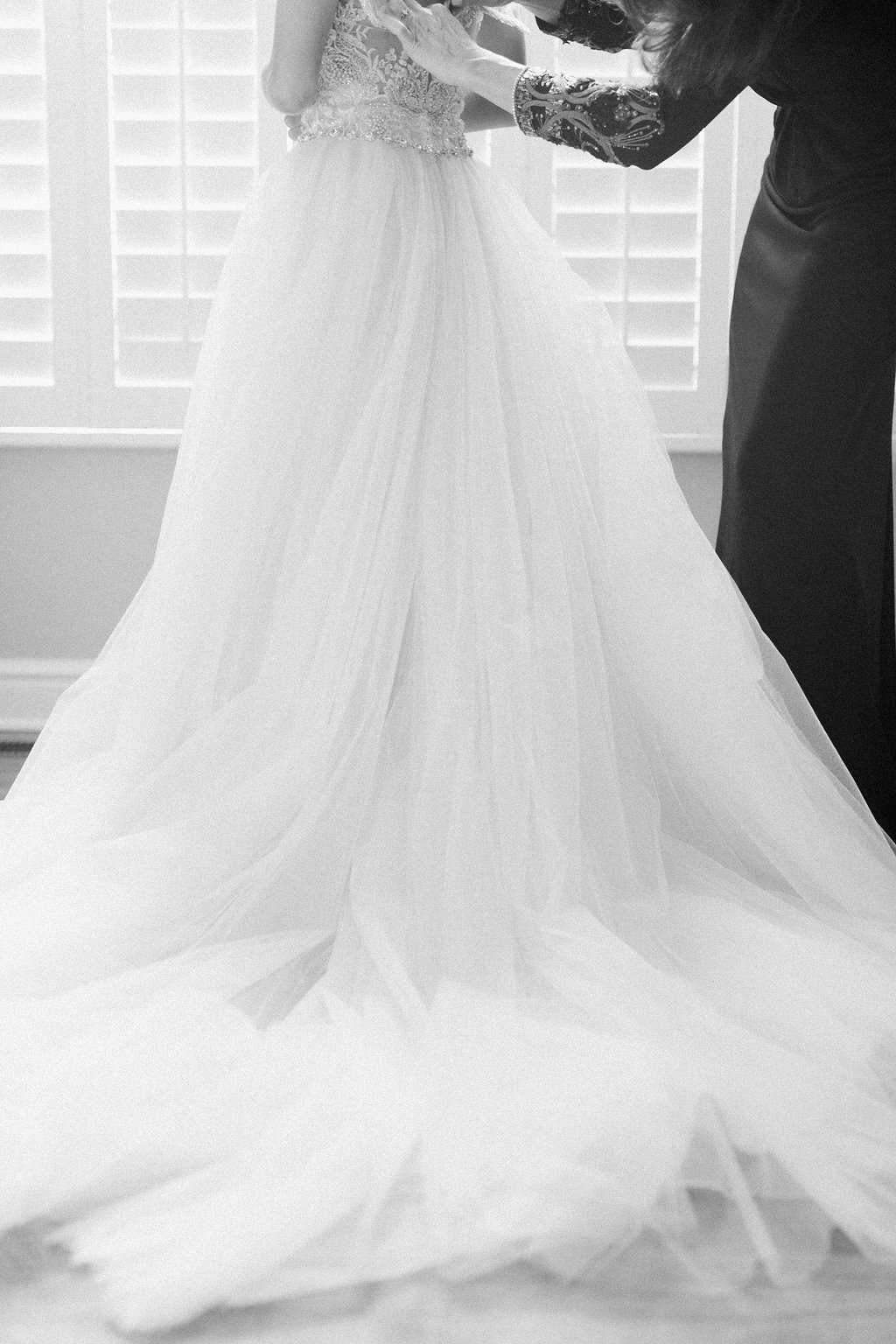 black and white photograph of wedding dress tulle