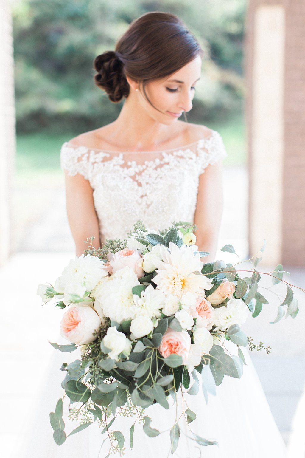 Bridal portraits in Maggie Sottero tulle wedding gown