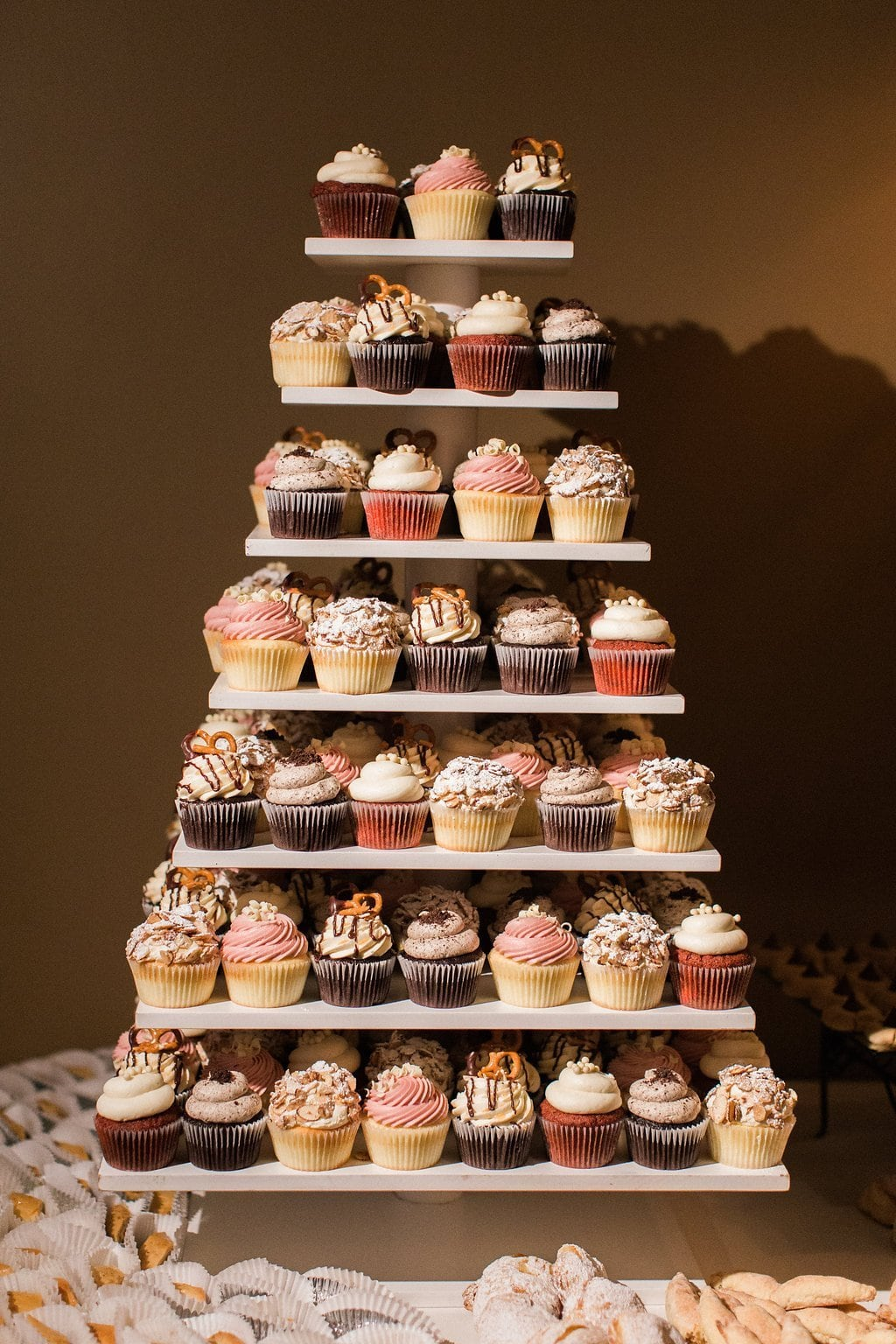 Cupcake tower at the dessert bar during the reception at the Club at Nevillewood
