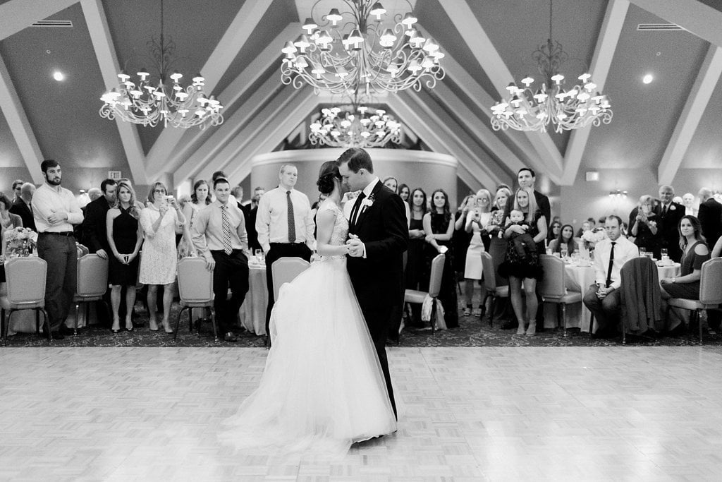 The bride and groom have their first dance in the ballroom at the Club at Nevillewood