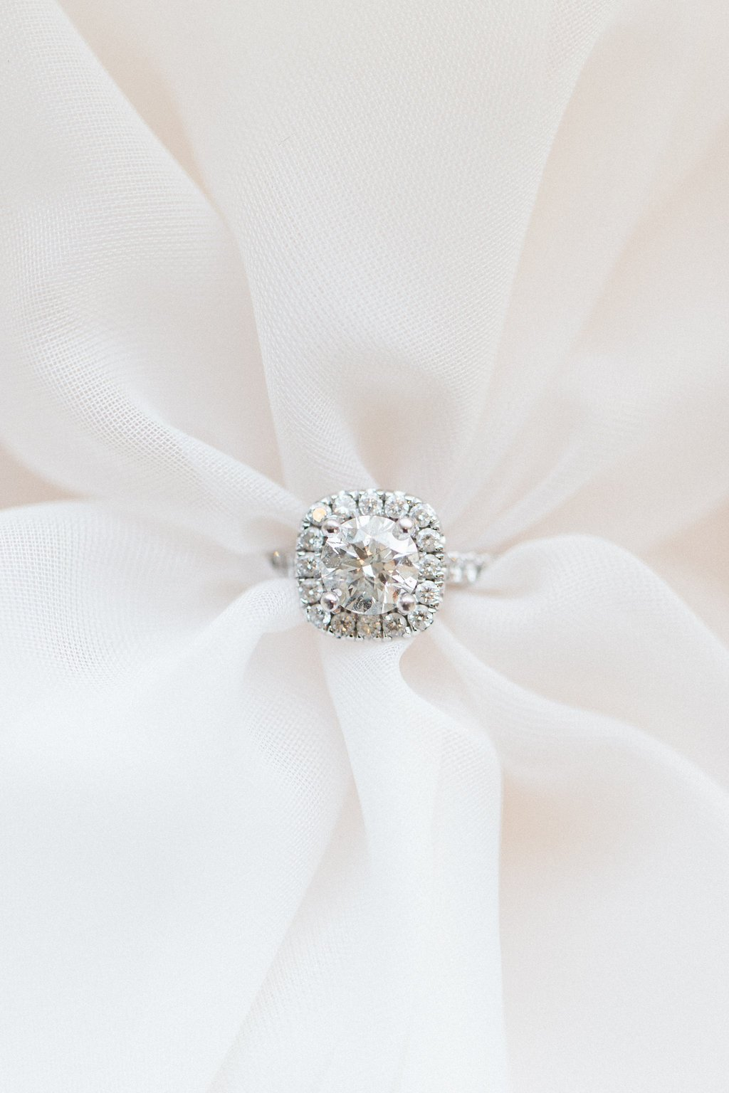 Engagement ring diamond halo bridal boudoir photography