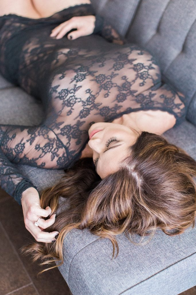 Artistic image of bride laying on couch using natural light: Pittsburgh Boudoir Photography