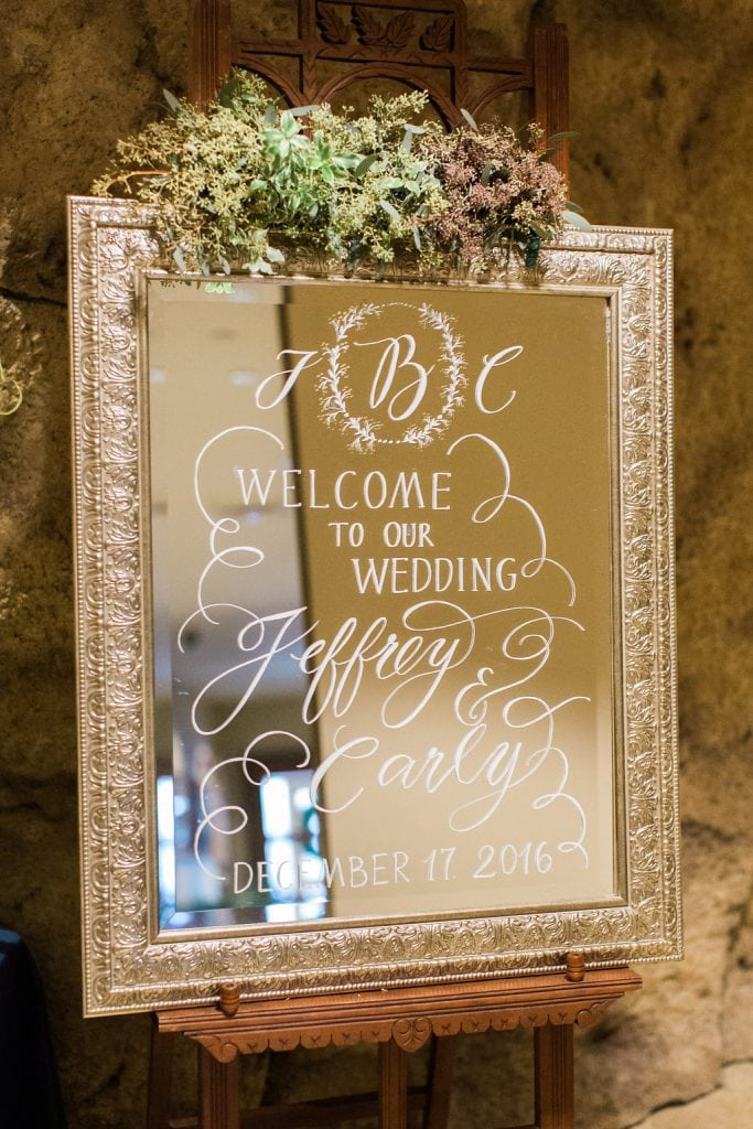 Ceremony details of mirror with white calligraphy