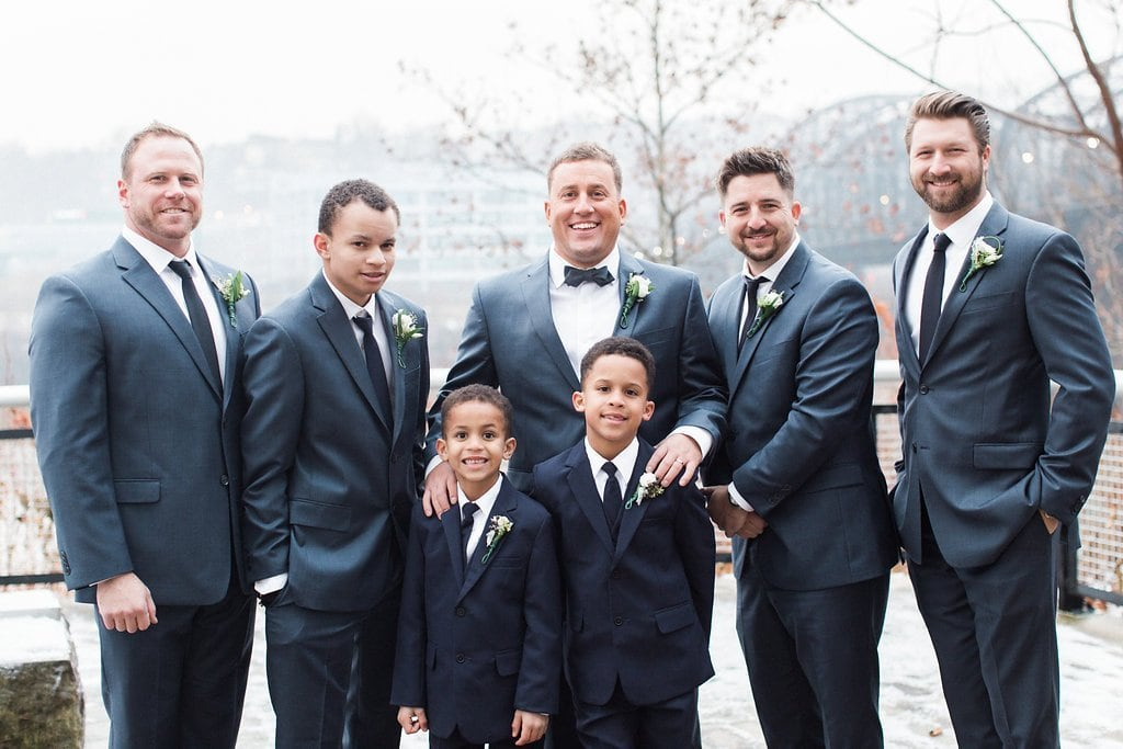 Groom with his groomsmen winter wedding photography - J Verno Studios Winter Wedding