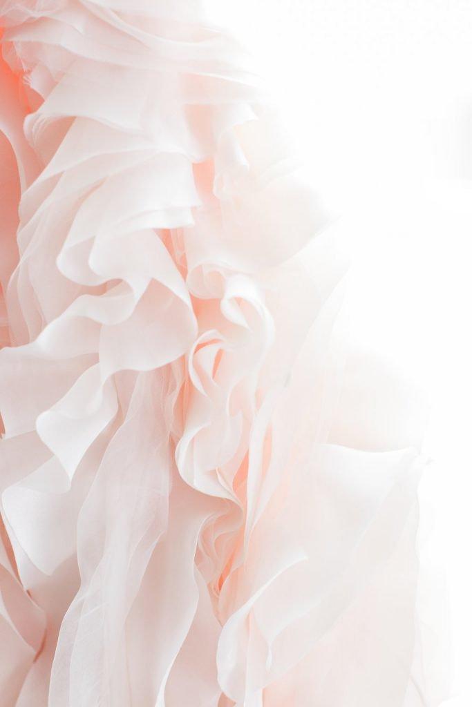 Detail photo of blush pink bridal dress train