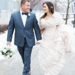 Bride and Groom photographs at December wedding bride wearing a blush pink wedding gown