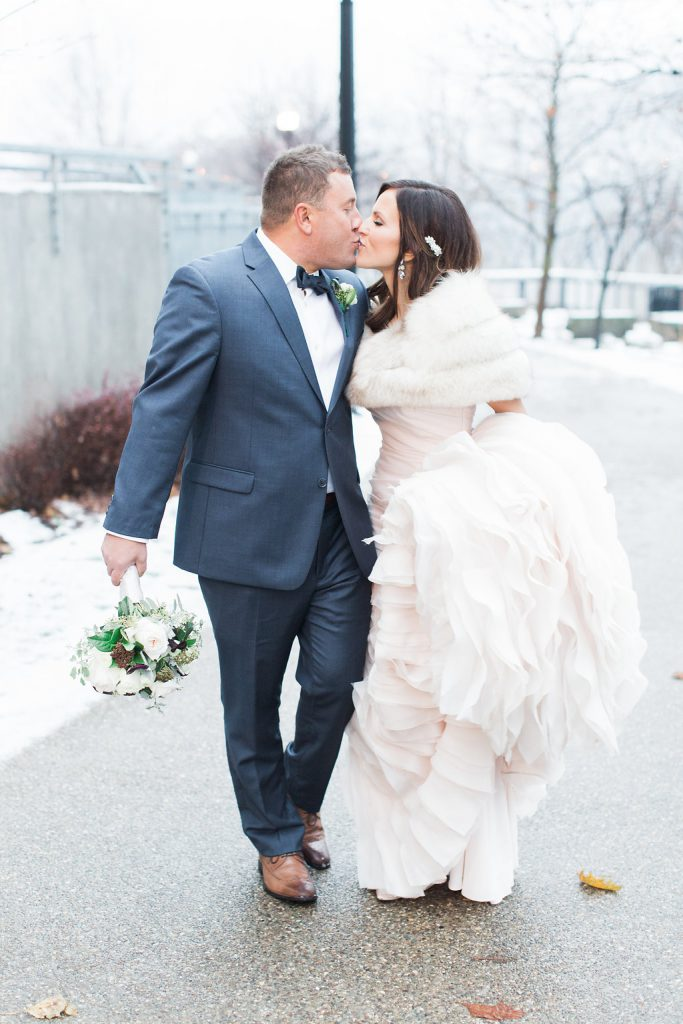 Bride and Groom portraits in the Southside during winter wedding