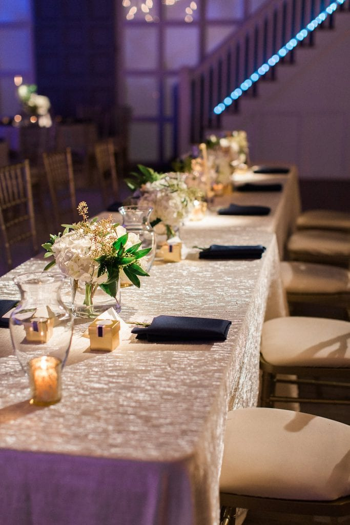 Head table at winter wedding reception in the Southside of Pittsburgh J. Verno Studios