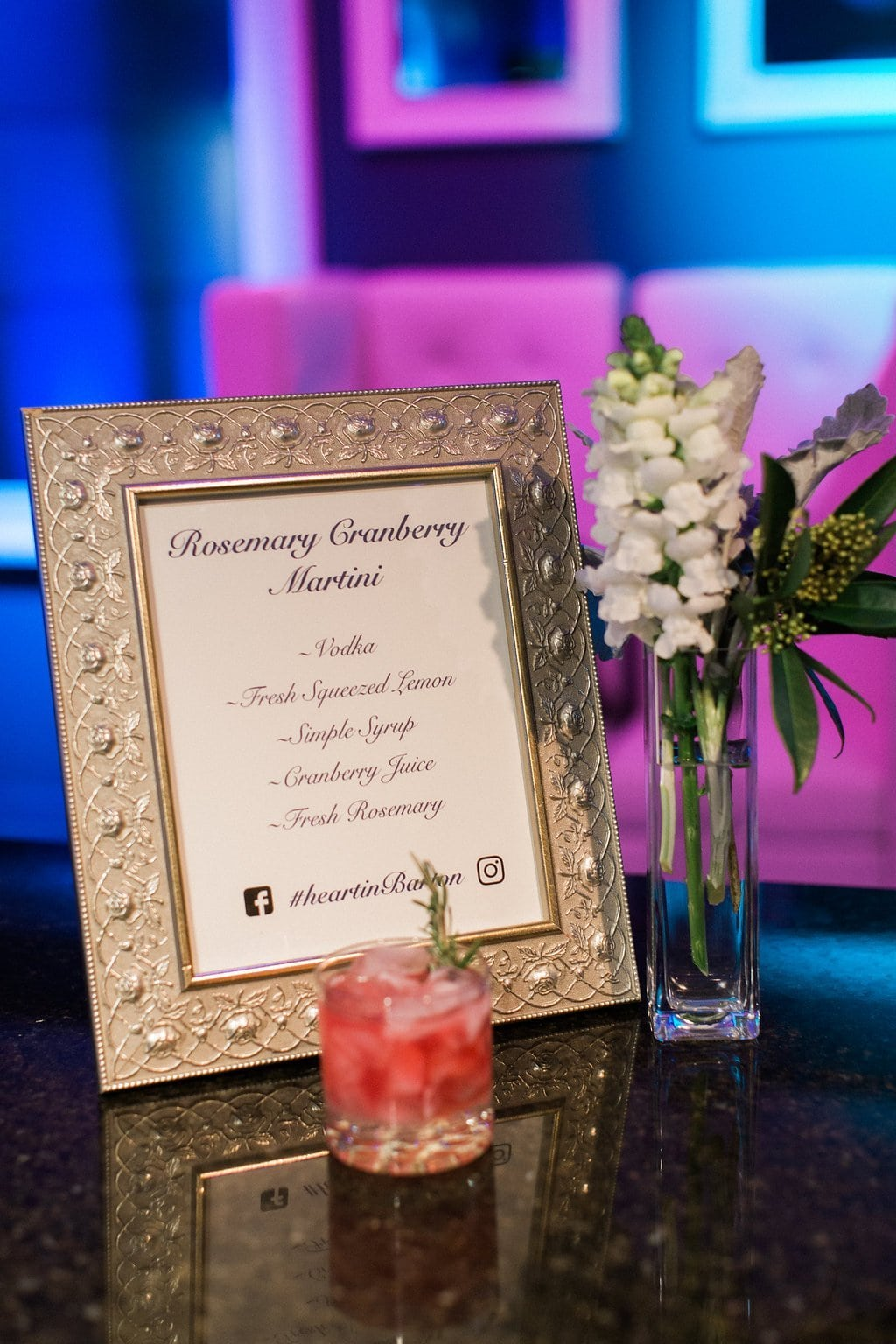 Signature cocktail during reception at J. Verno Studios - J Verno Studios Winter Wedding