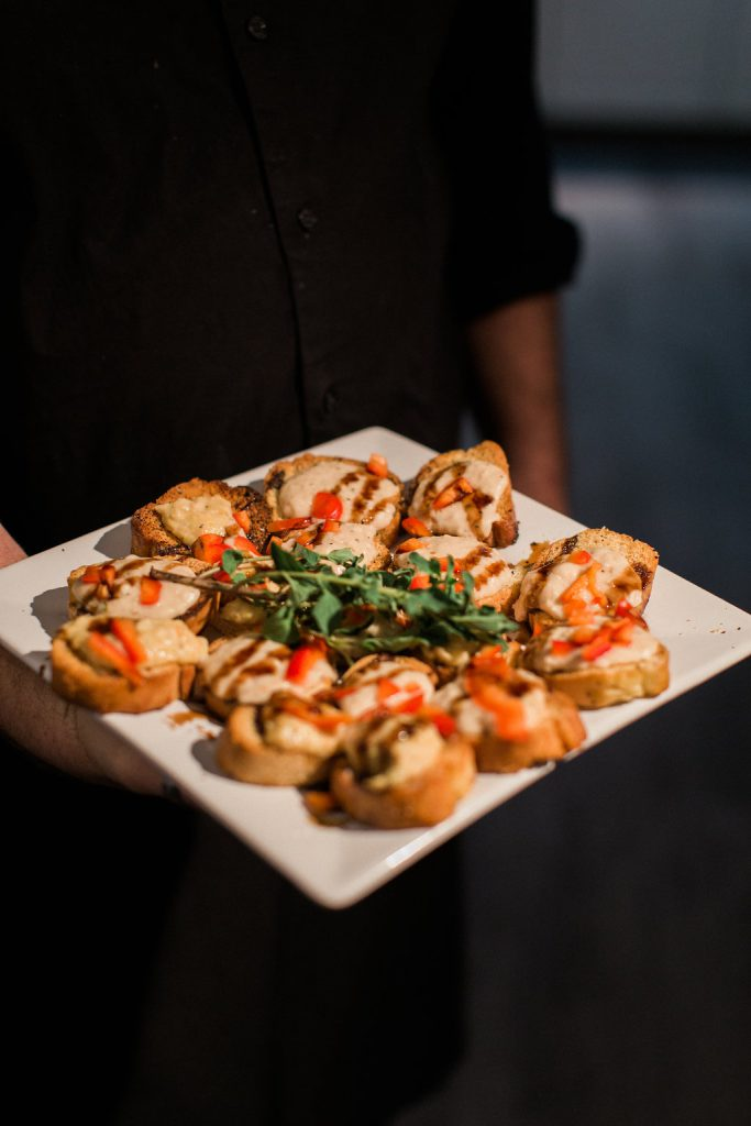 Appetizers at cocktail hour at J. Vern Studios