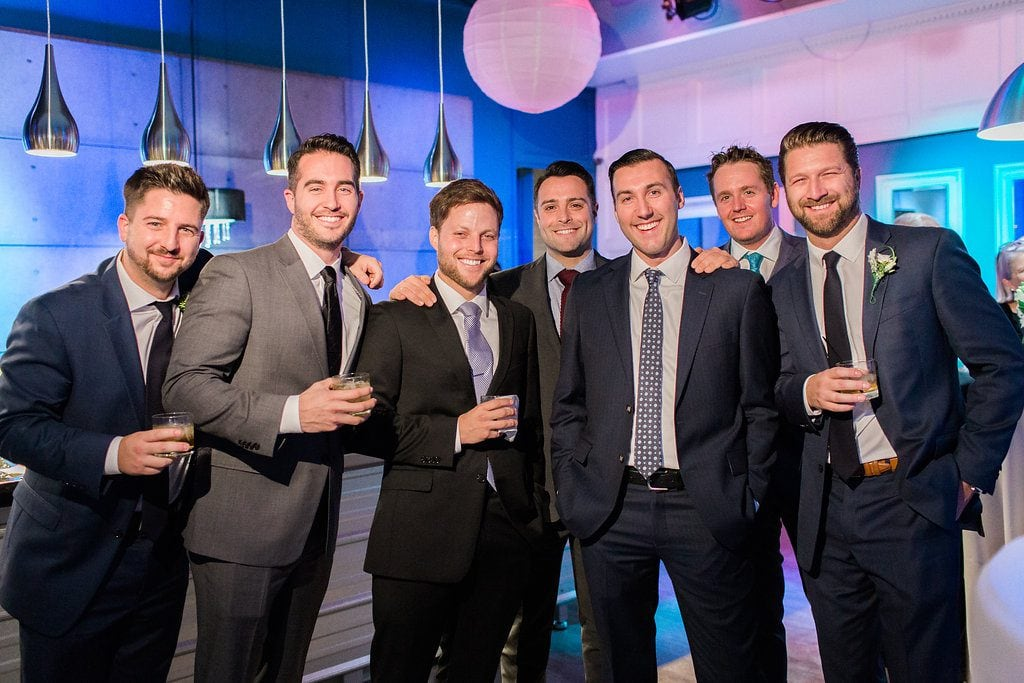 Wedding guests during cocktail hour at J. Verno Studios