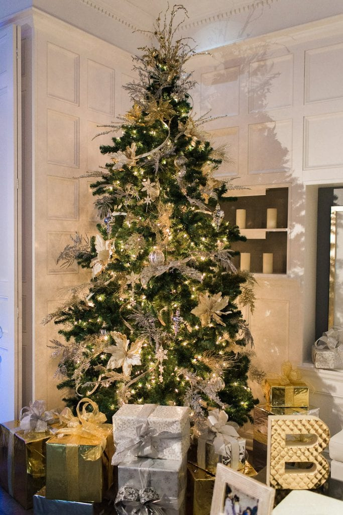 Christmas tree decorations at reception for winter wedding at J. Verno Studios