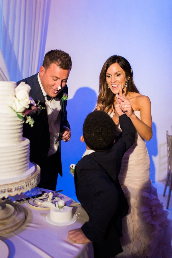 Cake cutting during reception at J. Verno Studios in Pittburgh
