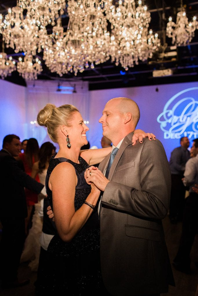 Guests on the dance floor at wedding reception