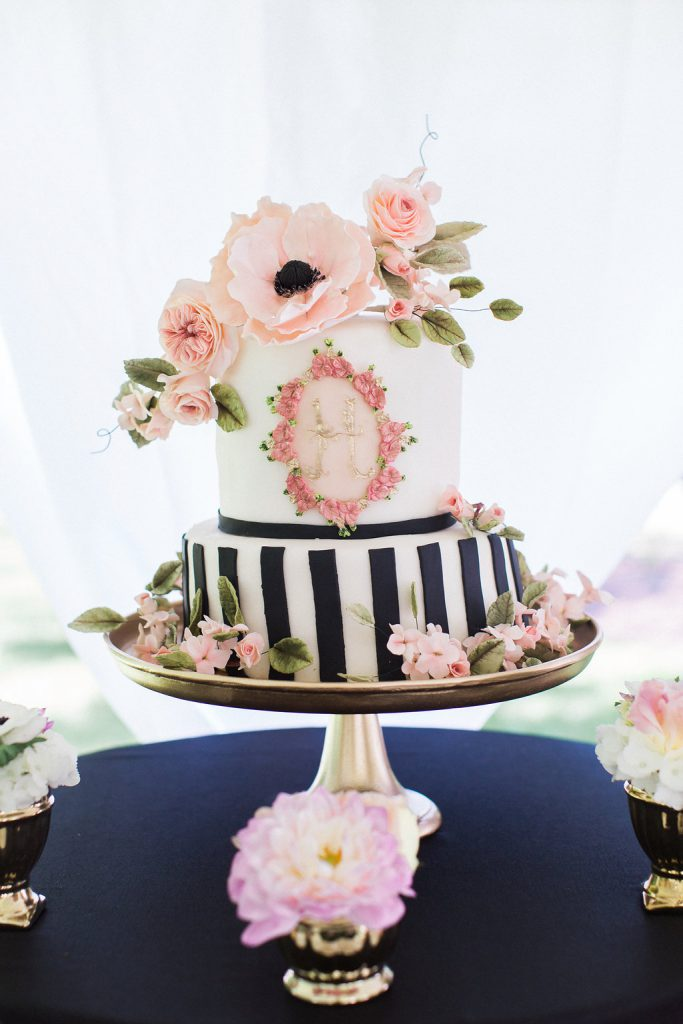 black and white cake with pink fondant flowers at kate spade inspired bridal shower