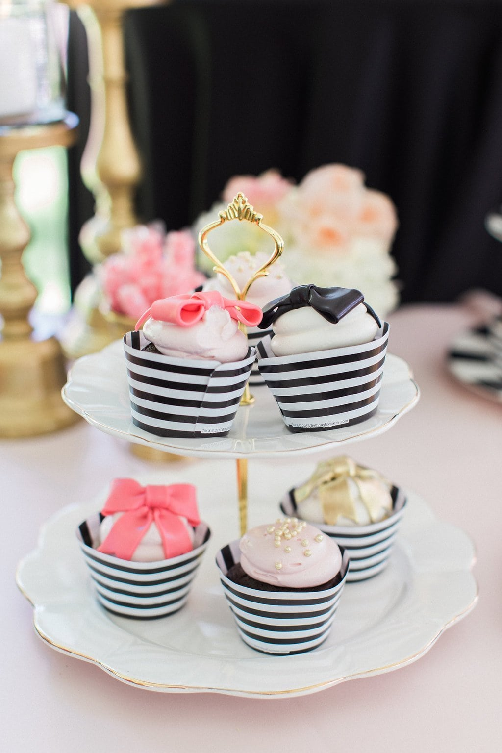 black and white cupcakes with pink bows - Black & White Kate Spade Inspired Bridal Shower