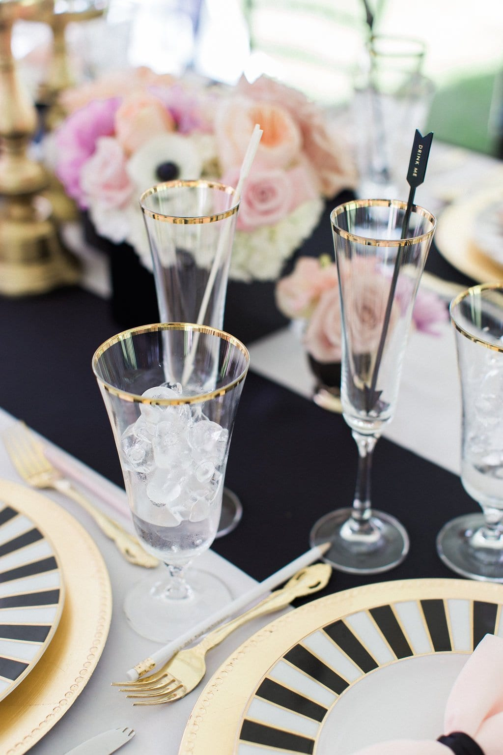 gold rimmed kate spade glassware with black and white plates and pink napkins - Black & White Kate Spade Inspired Bridal Shower
